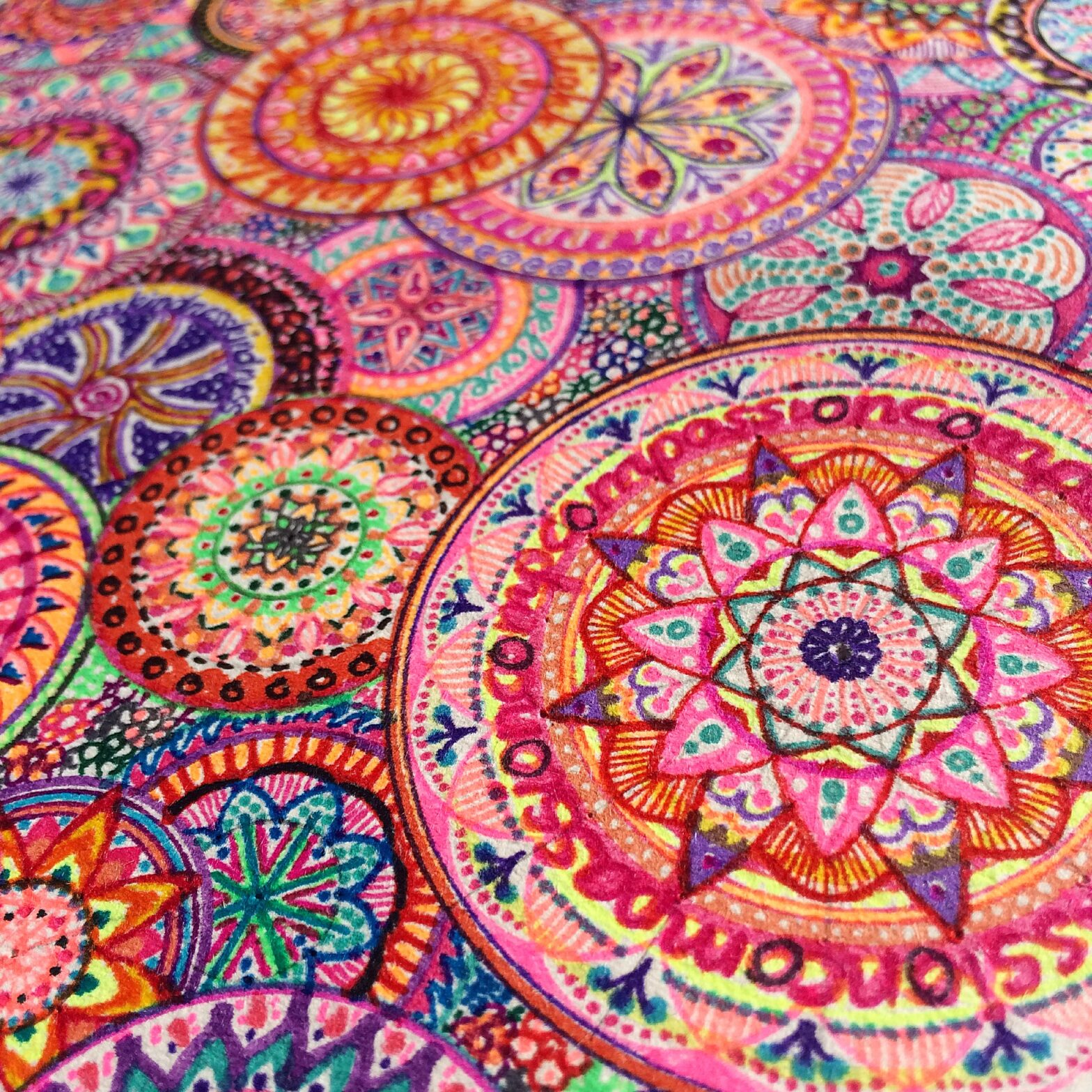 too many mandalas - detail picture of a colorful mandala drawing by herrberta
